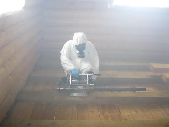 На фото: обработка дома горячим туманом